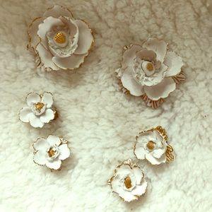 Vintage Bone China flower brooch clip on earrings